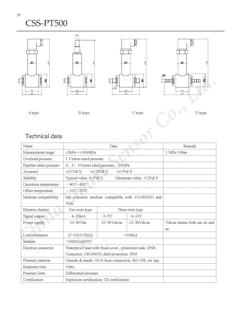Piezo-resistance Diffuse Silicon Differential Pressure Transmitter ...