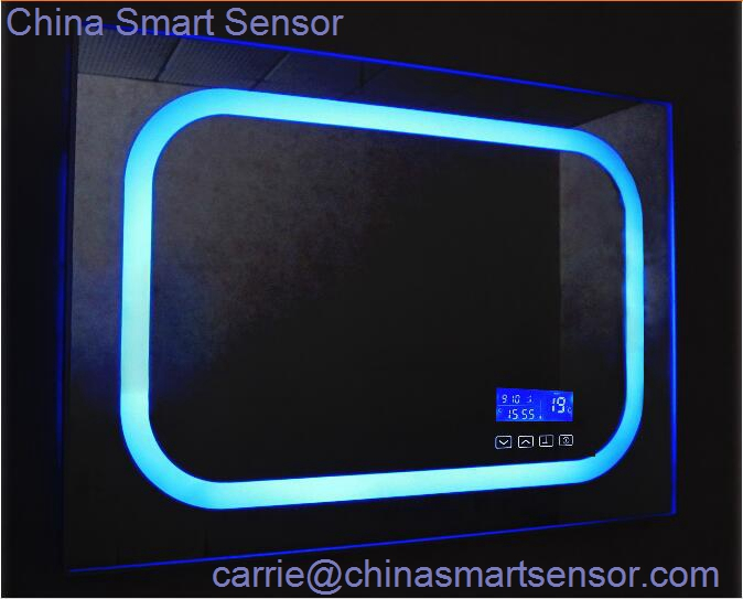 Time And Temperature Display System On Bathroom Mirror Surface Led Light Touch Sensor Switch